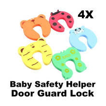 4pcs/Set Safety Gate Thick Door Stopper Cute Animal Baby Helper Door Stop Finger Pinch Guard Lock Finger Protector Baby Safety