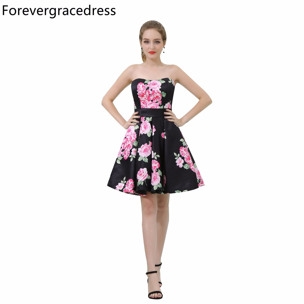 Forevergracedress Floral Print   Cocktail     Dress   Sleeveless Knee Length Short Backless Homecoming Party Gown Plus Size Custom