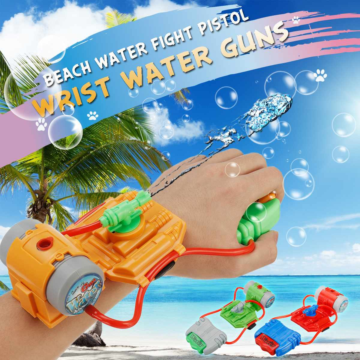 3 Colors 5M Range Wrist Water G un Summer Beach Outdoor <font><b>Shooter</b></font> Toy Plastic Children Favorite Toys Boy Gift image