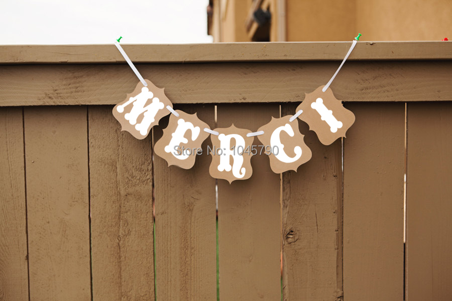 Free Shipping 1 X Kraft MERCI Bunting Banner French thank you Sign Wedding Party Photo Props Decoration Supplies
