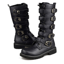 Army Boots Men Military Leather Combat Metal Buckle Male Motorcycle Punk Boots Men's Shoes Rock Zapatillas Deprtivas Hombre