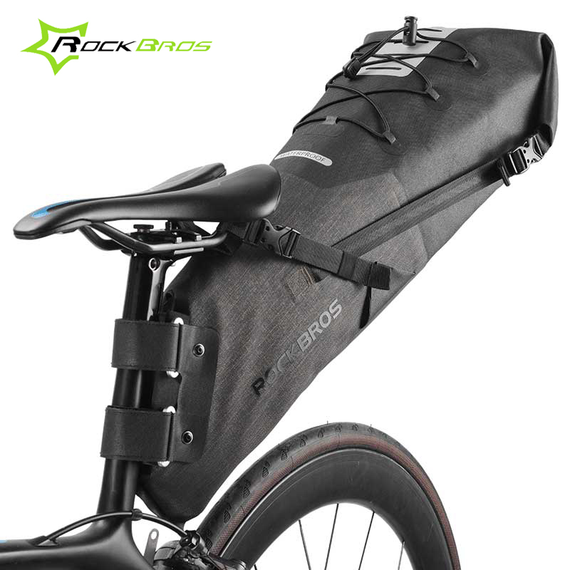 Rockbros 10/14L Road Mountain Bike Bag Waterproof Cycling Rear Seat Travel Bag Bicycle Saddle Bag MTB Pannier Bike Accessories rhinowalk 10l 100% waterproof bike saddle bag seat bike mountain bike accessories