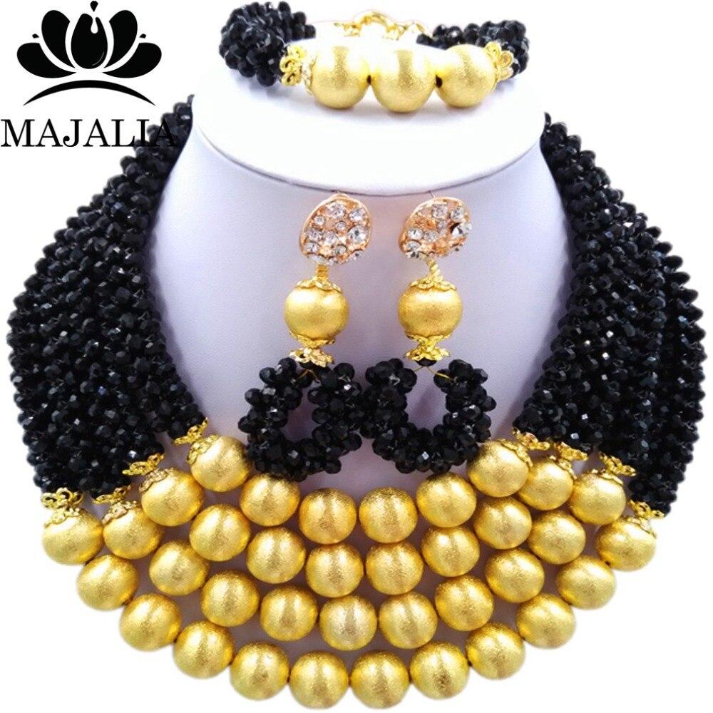 Majalia Fashion Black Nigerian Wedding African Jewelry Set Crystal Necklace Bride Jewelry Sets Free Shipping 3LI006 majalia fashion beige nigerian wedding african jewelry set crystal necklace bride jewelry sets free shipping 3li004