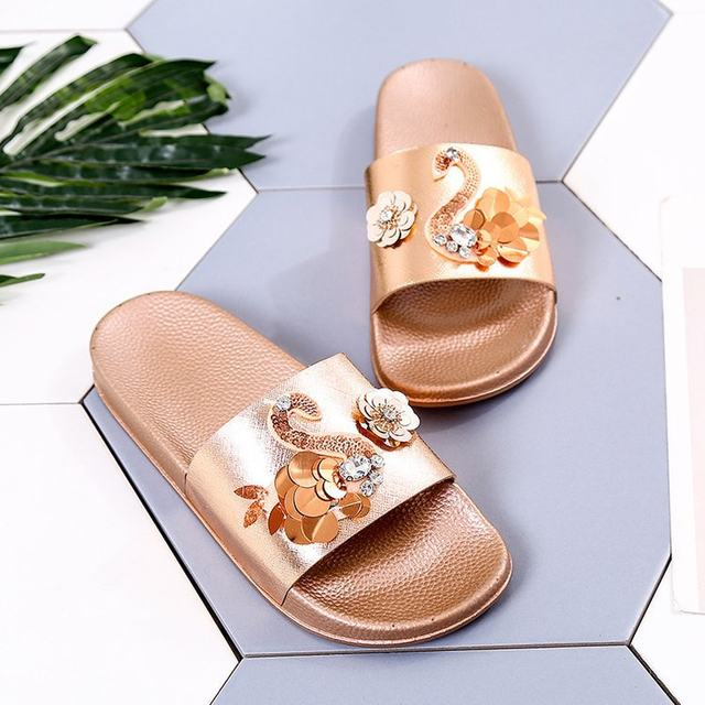 42eb11b29e281e Rhinestone Flamingo Slippers Women Flower Silver Bling Casual Summer 2018  Floral Ladies Comfort Home Slides Pu