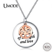 UMODE 925 Sterling Silver Large Lettering Round Pendant Necklace Women Rose Gold Color Family Tree Of