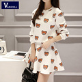 Women Cartoon Bear Print Crop Top and Mini Skirt Two Pieces Clothing Set 2016 Spring Autumn New Fashion Casual 2 Pcs
