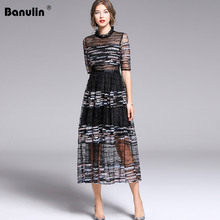 Banulin 2019 Summer Fashion Runway Vintage Black Dresses Womens Short Sleeve Solid Mesh Floral Embroidery Sequin Midi Dress