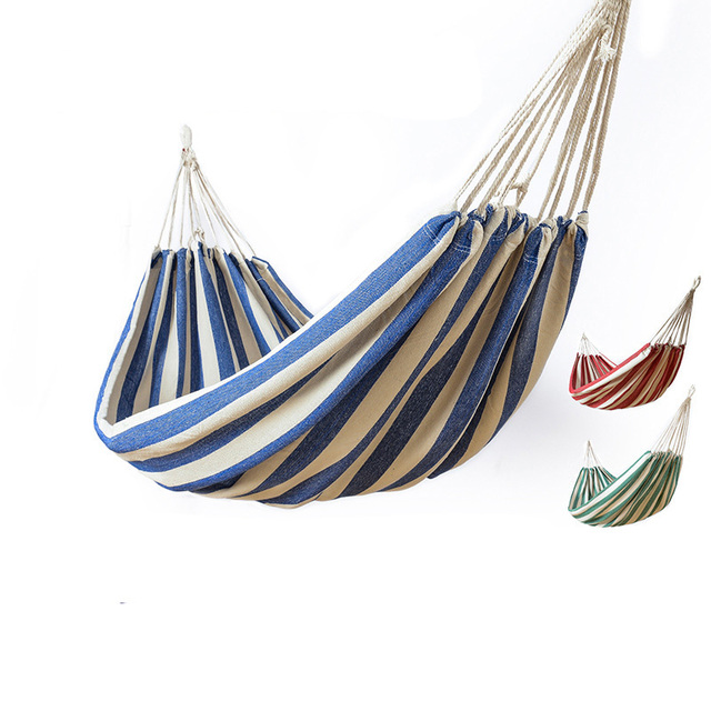 Backpack Portable Hammock For Camping Garden Beach Travel Hanging Bed  Outdoor Ultralight Stripes Cotton Fabric Swings Hammocks