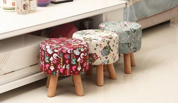 Solid wood  shoe stool creative small stool fashion simple fabric tea stool american style dressing stool solid wood leather pedal simple bed end stool continental long shoe bench bedroom makeup stool