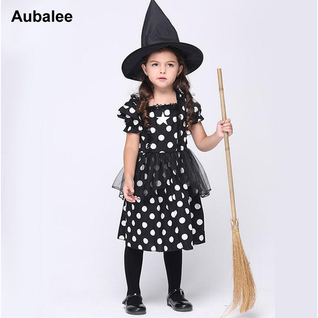 2017 New Cute Kids Girls Black Witch Costume For Halloween ...