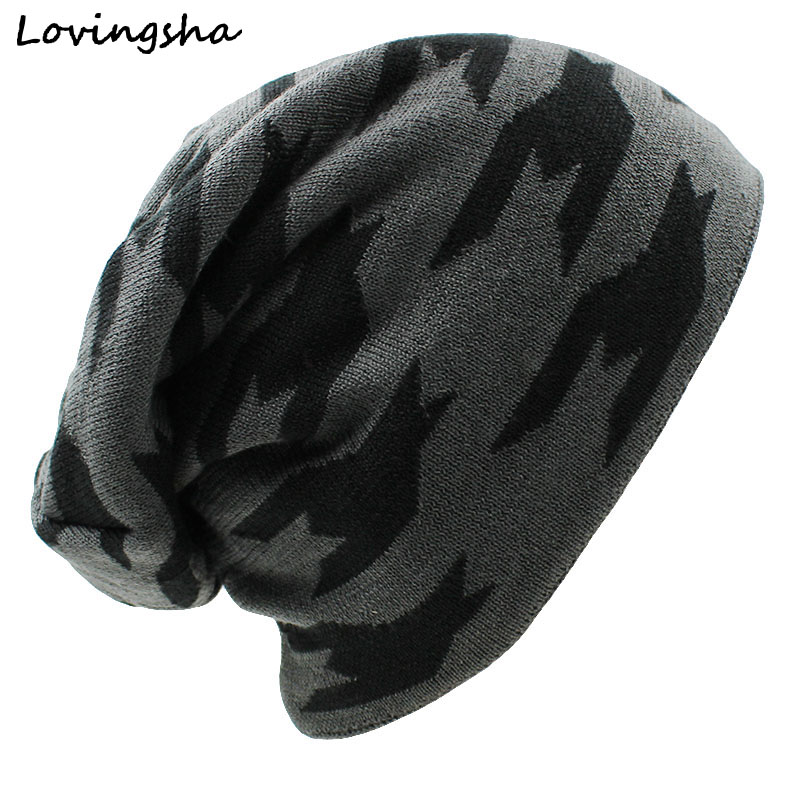LOVINGSHA Men's Winter Hat Caps Faux Fur Warm Baggy Knitted Hat Men Beanies Knit Skullies Bonnet Hats For Men Women Beanie