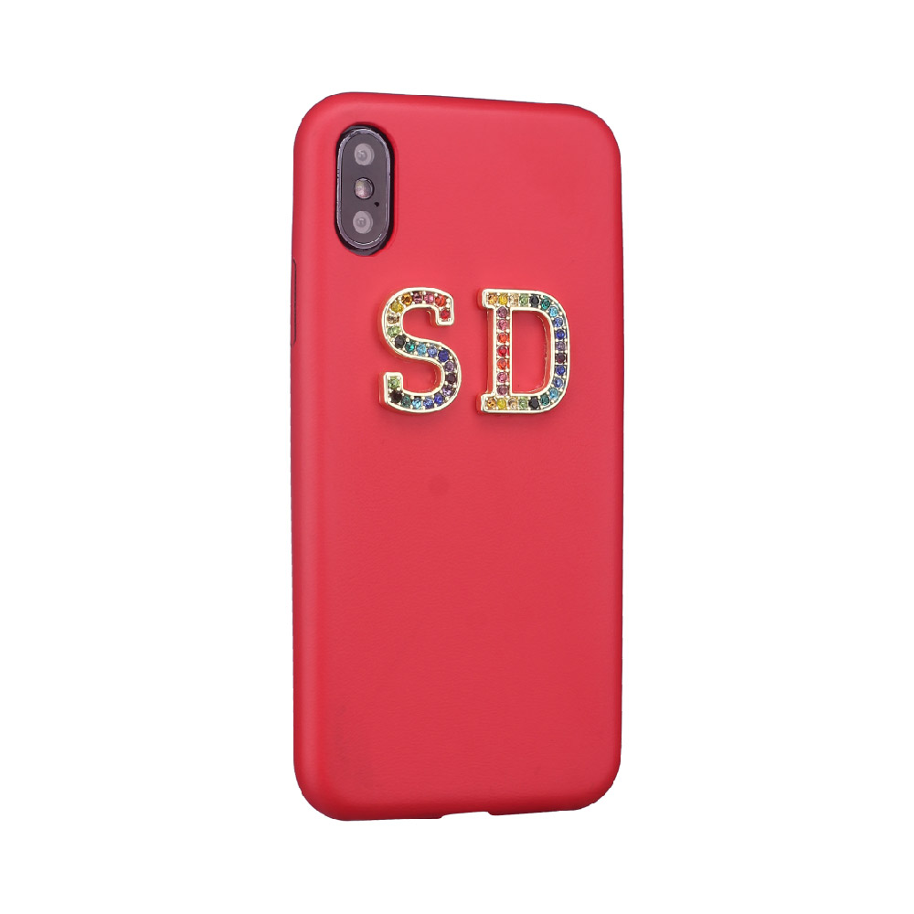 Стразы, бриллианты, кристалл, металл, индивидуальные инициалы для iPhone 11 Pro 6S XS Max XR 7 7Plus 8 8Plus X, гладкий тонкий кожаный чехол - Цвет: Red Leather Case