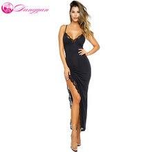 Goorselent Maxi Jurk Zomer 2018 Sexy Zwarte Spagetti Strap Side Slit Lace  Trim Lange Party Dress Vestido De Festa Longo ce877a985d31