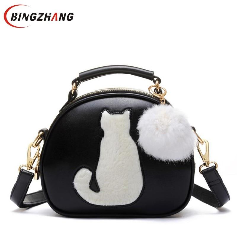 Cute Fox Rabbit Cat Bear Face Women Bag Baby Girl Mini Shoulder Bag For Women Cross Body Bags Lady PU Leather Handbags L4-3256