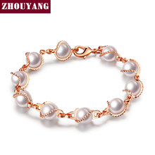 Top Quality Real Rose Gold Color Imitation Pearl Charm Bracelet Fashion Jewelry 2015 New For Women ZYH171 ZYH178(China)