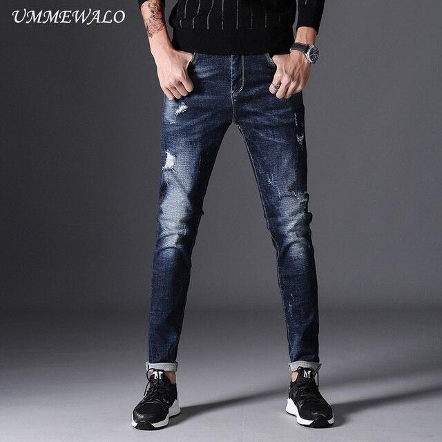 Ummewalo 2017 Automne Hiver Skinny Jeans Hommes Stretch Déchiré