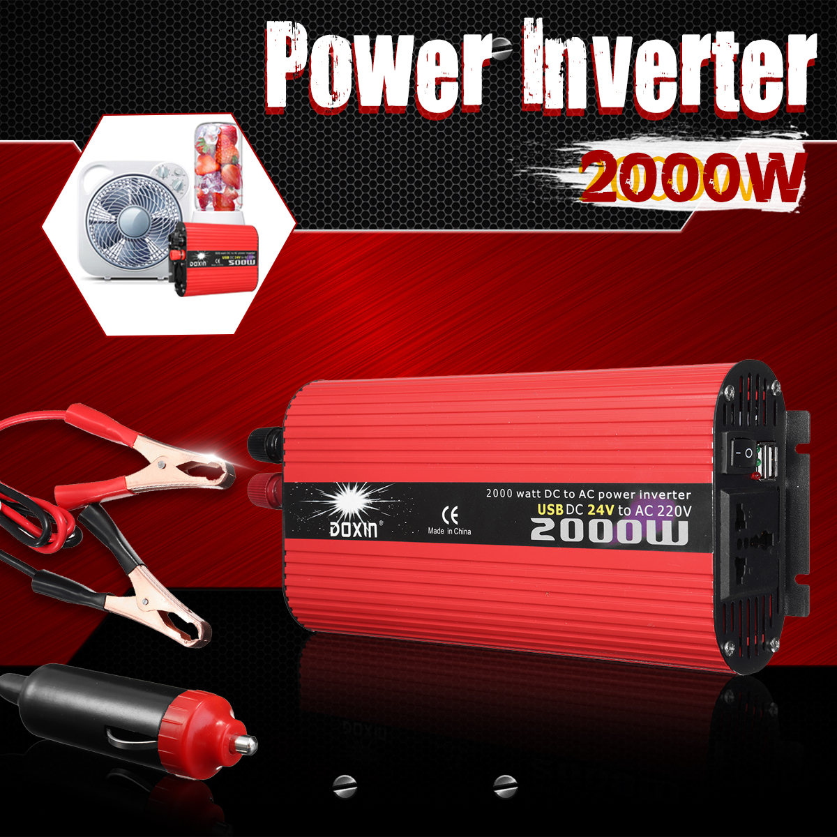 цена на Car Inverter 12V 220V 2000W Power Inverter Modified Sine Wave Voltage Converter Transformer 12V/24V To 220V/110V Car Charger