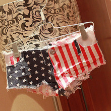2016 Clubwear High Fashion Women's Cool Denim Wash Distressed American Flag Low Waist Short Pants Jeans Trousers Hot Nightclub
