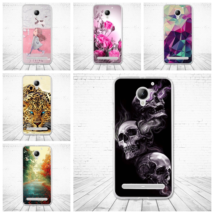 Case For Lenovo Vibe C 2 Cover Soft Silicone Fundas For Lenovo C2 K10a40 5.0'' Flower Paint Phone Cover for Lenovo vibe c2 Coque image