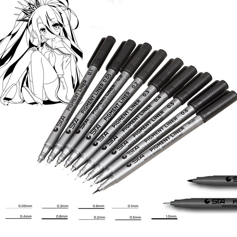 9 PC Set Black Water Resistant Sketch Pigment Hook Line Marker Pens Black Ink Art Supplier Drawing Pens Manga Handwriting Brush quick dry water resistant black gel eyeliner w brush black golden transparent 7g