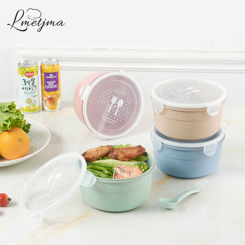 LMETJMA High Quality Lunch Boxs Microwave School Lunch Boxs For Kids Wheat Fiber Food Boxs KCBII012005