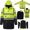 SFvest EN471 ANSI/MEER 107 AS/NZS Hallo vis 7 in 1 wasserdichte parka windjacke arbeitskleidung regen mantel reflektierende sicherheit jacke