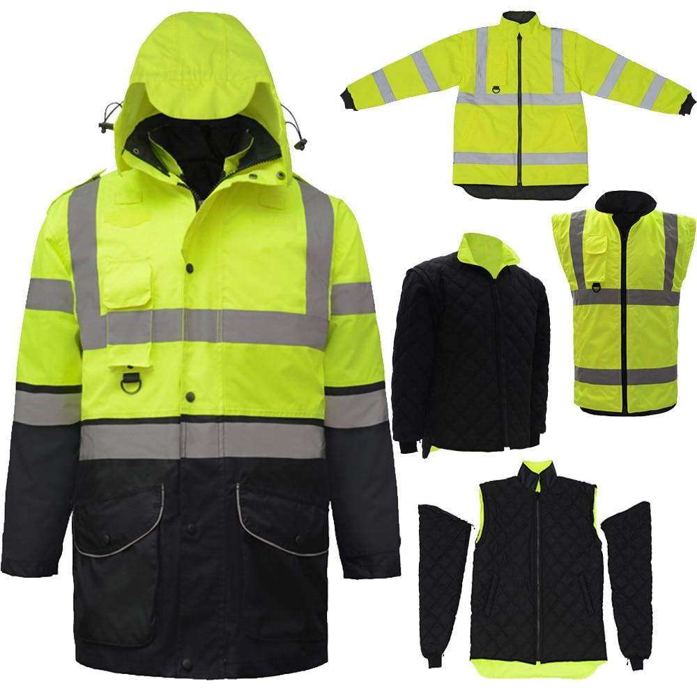 SFvest EN471 ANSI/SEA 107 AS/NZS  Hi vis 7 in 1 waterproof parka windbreaker workwear rain coat reflective safety jacketSFvest EN471 ANSI/SEA 107 AS/NZS  Hi vis 7 in 1 waterproof parka windbreaker workwear rain coat reflective safety jacket