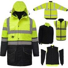 SFvest EN471 ANSI/ZEE 107 AS/NZS Hi vis 7 in 1 waterdichte parka windjack werkkleding regen jas reflecterende veiligheid jas
