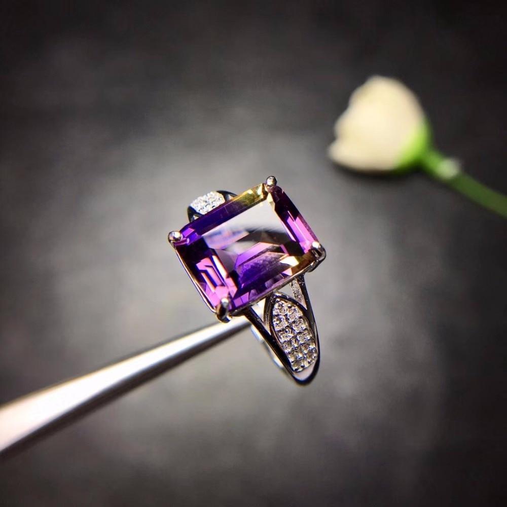 Natürliche Amethyst Rechteck Ringe für Frauen, 925 Sterling Silber Edlen Schmuck, 8*10mm Edelstein mit Samt Box Zertifikat FJ244-in Ringe aus Schmuck und Accessoires bei  Gruppe 3