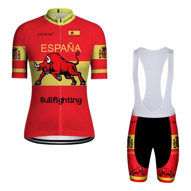 2018 New style LairschDan spain bullfighting cycling jersey espana Pro Team  Bike Clothing Bib Shorts set ropa ciclismo verano 45119d0b2