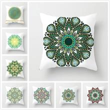 Fuwatacchi  Green Flower Throw Pillow Cover Mandala Pattern Cushion for Home Sofa Chair Decorative Pillowcase 2019