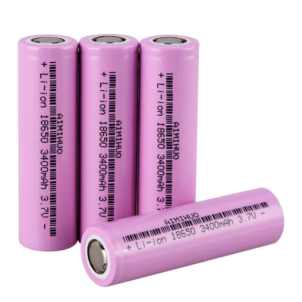 AIMIHUO <font><b>18650</b></font> Перезаряжаемые аккумуляторной батареи <font><b>3400</b></font> мАч для фонарика/touch/фары 3,7 В Реальная Емкость <font><b>3400</b></font> мАч литий-ионный без каблука аккумулятор
