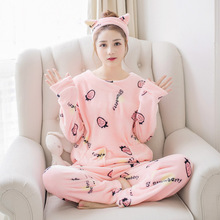 2019 Autumn winter flannel pajamas set female long-sleeved coral velvet cute cartoon pijama mujer warm home clothing large size стоимость