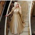 Oumeiya OW539 Nuevo Diseño Champagne Flowy Gasa Manga Larga Musulmán Vestidos de Noche Turco 2015