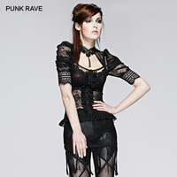 PUNK RAVE Women's Gothic Semitransparent Sheer Halterneck Puff Sleeve Tops Sexy Lace Short Shirt Tops
