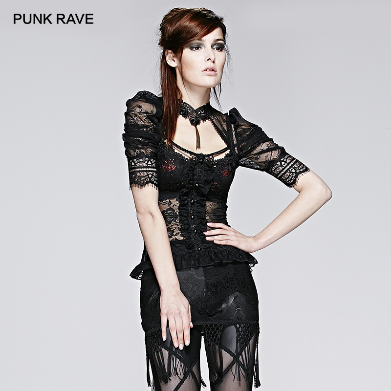 PUNK RAVE <font><b>Women's</b></font> <font><b>Gothic</b></font> Semitransparent Sheer Halterneck Puff Sleeve Tops <font><b>Sexy</b></font> Lace Short <font><b>Shirt</b></font> Tops image