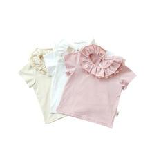 High Quality Baby Girls Bomuld T-Shirt Baby Tøj Casual Solid T-Shirt Kortærmet Floral Ruffles Krave T-Shirt