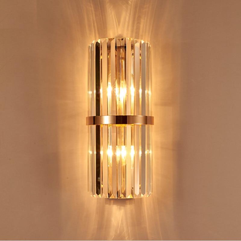 €220.92 |K9 cristal applique murale chambre applique avec interrupteur  salon salle à manger lumière chambre mur LED lumière hôtel or cristal ...