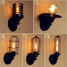 цена на Black Retro Vintage Wall Lights Fixtures Living Room LED Loft Lamp Industrial Wall Light Edison Sconce Lamparas De Pared