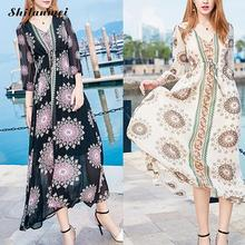 A-line Chiffon Beach Dress Mid-calf Floral Tunics for Beach Cover Ups Robe De Plage V Neck Boho Dress Pareo Praia Beach Tunic xl редакция газеты труд 7 труд 7 84 85 2018