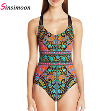 2018 Women Black white One piece Swimsuit Female Bathing suit One piece Bandage Swimwear Bandeau Swim suits Beachwear Monokini