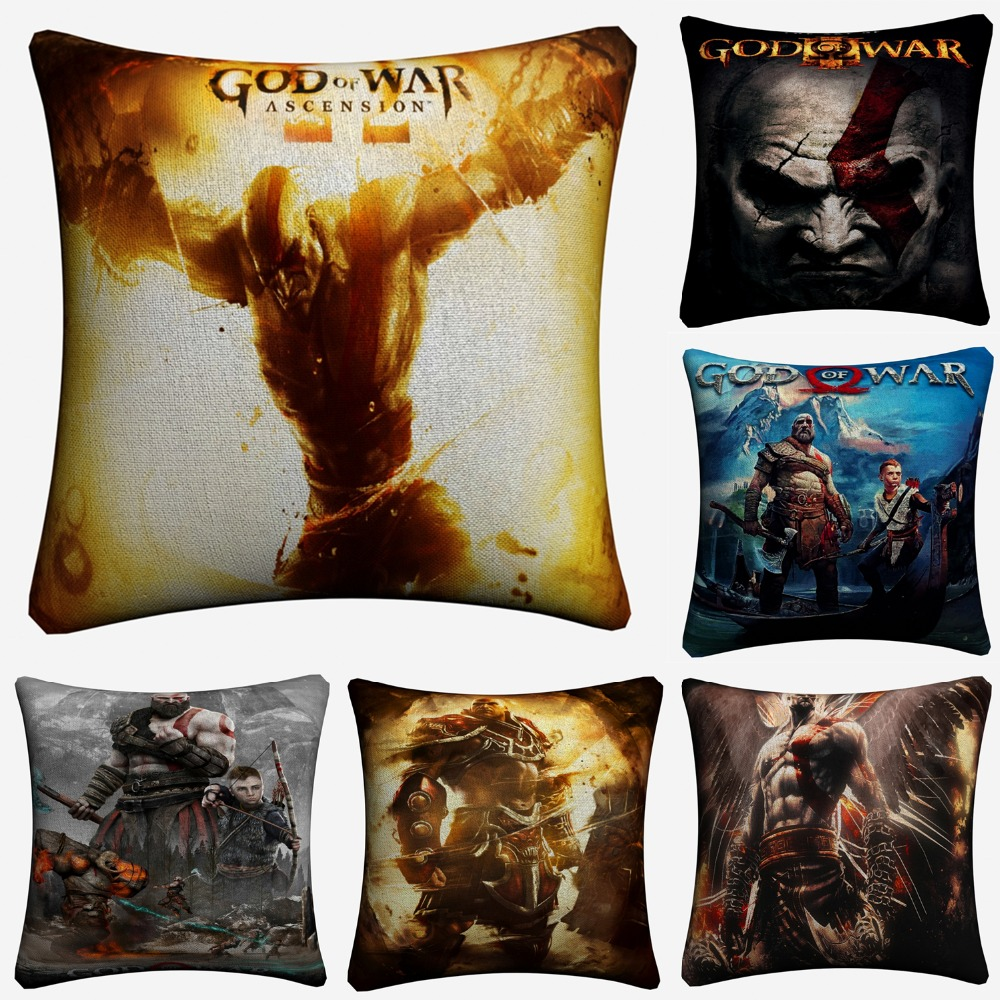 God Of War Video Game Figure Decorative Cotton Linen Cushion Cover 45x45cm For Sofa Chair Throw Pillow Case Home Decor Almofada