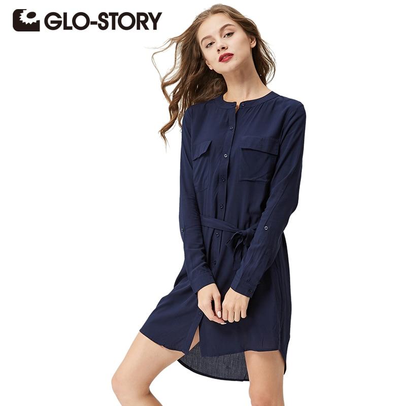 GLO-STORY المرأة زر قميص اللباس 2018 الخريف طويلة الأكمام تونك مع الزنانير الشتاء اللباس السيدات اللباس WCS-3006