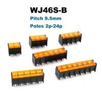 10/50pcs barreira parafuso pcb bloco terminal passo 9.5mm morsettiera fiação conector blocos pino reto 2/3/4/5/6/7 p bornier 25a|Blocos de terminais| |  -