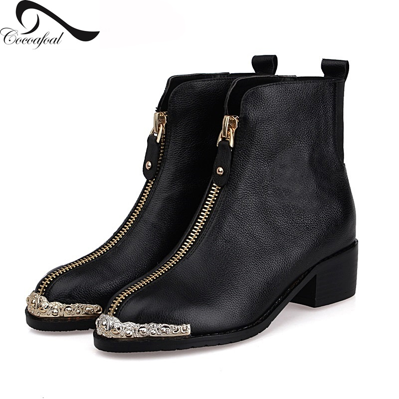 ФОТО Martin boots women shoes real leather zipper black boots fashion ankle boots women round head women boots 2017 autumn winter