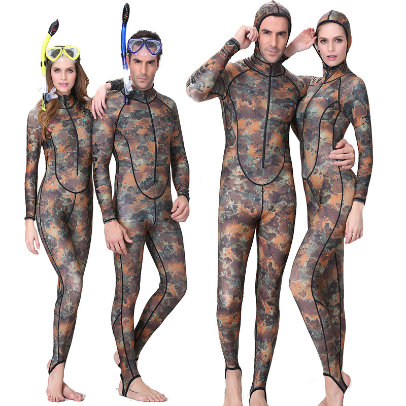 Suit Couple Sail Skin-Dive Jump Spearfishing Lycra Camo Women Hood One-Piece with Uv-Proction