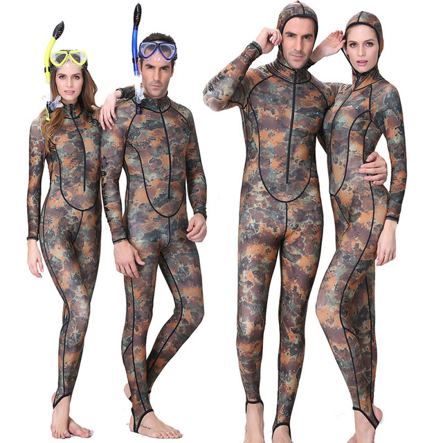 Dive Sail spearfishing lycra couple suit Camo Skin DIVE wetsuit One piece  With Hood Jump UV proction 8c15f7070