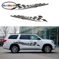 2 X Super Sporty Car Speeding Checkered Flag Flapping In The Wind Art Car Stickers For