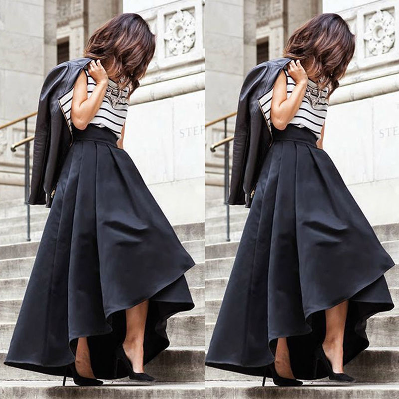 b231cfd1dd0 Fashion Women Vintage Stretch High Waist Skater Flared Pleated Maxi Long  Skirt Formal Black Skirt-in Skirts from Women s Clothing on Aliexpress.com  ...