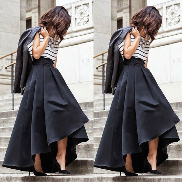 8f26fc2e8ff Fashion Women Vintage Stretch High Waist Skater Flared Pleated Maxi Long  Skirt Formal Black Skirt